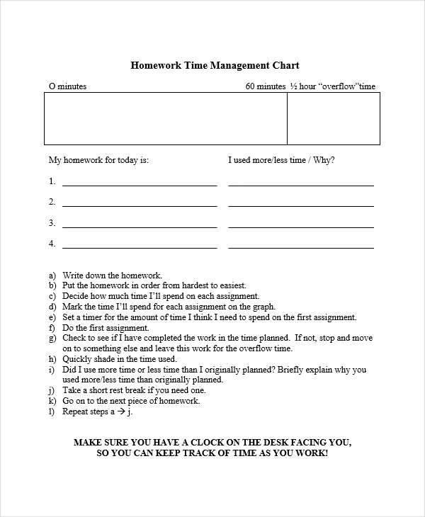 homework time management chart