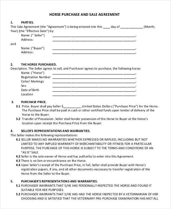 Horse Sales Contract Samples  Templates In Pdf