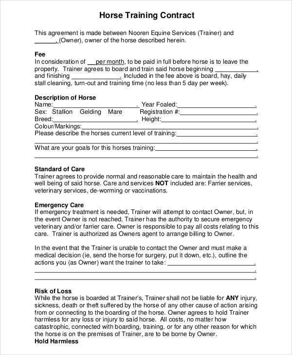 Training Contract Templates  Free Sample Example Format Download
