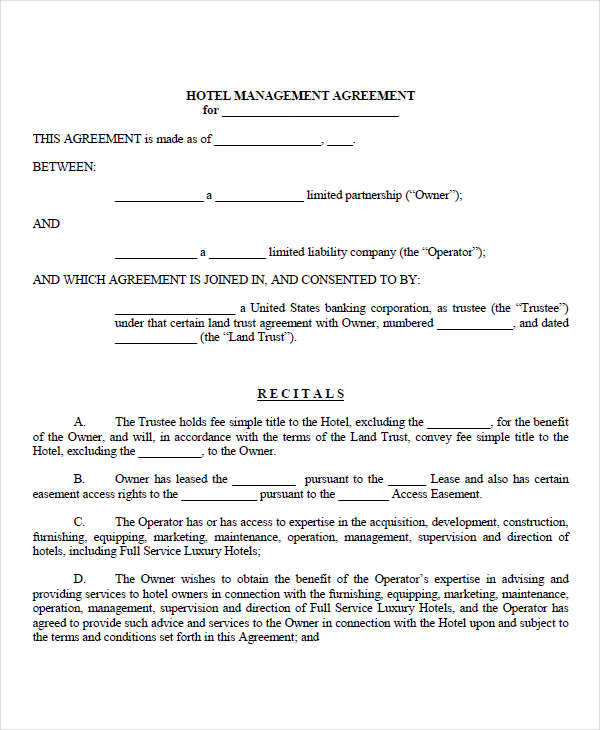 Management Contract Template  Free Sample Example Format Download