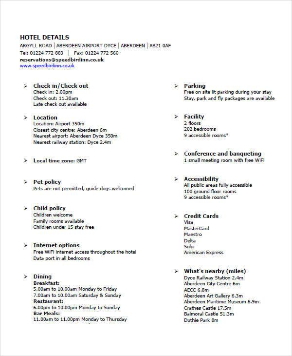 hotel detail sheet1