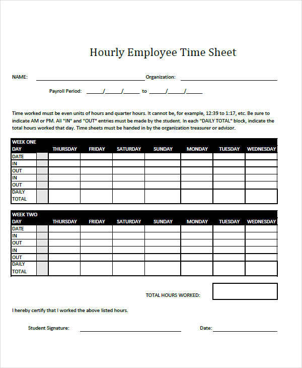 41 timesheet templates sample templates for Hourly employee timesheet template