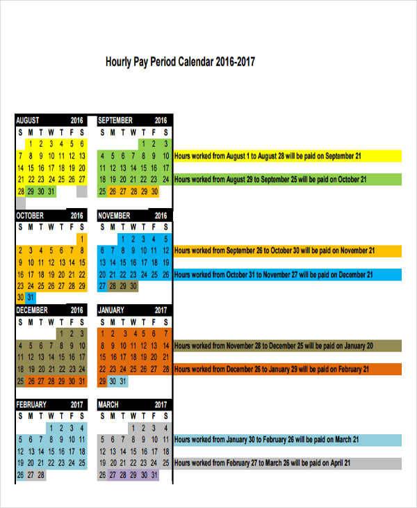 hourly period calendar