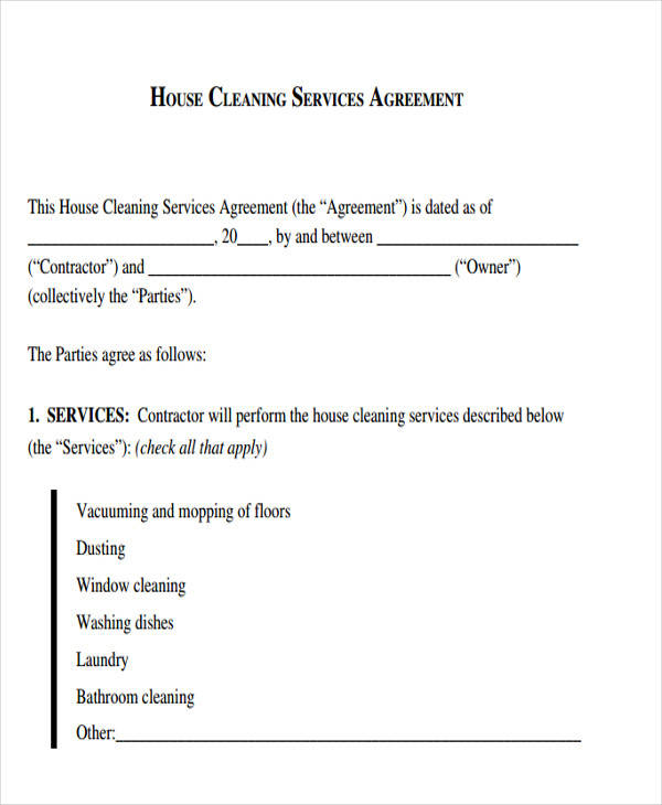 cleaning services agreement sample