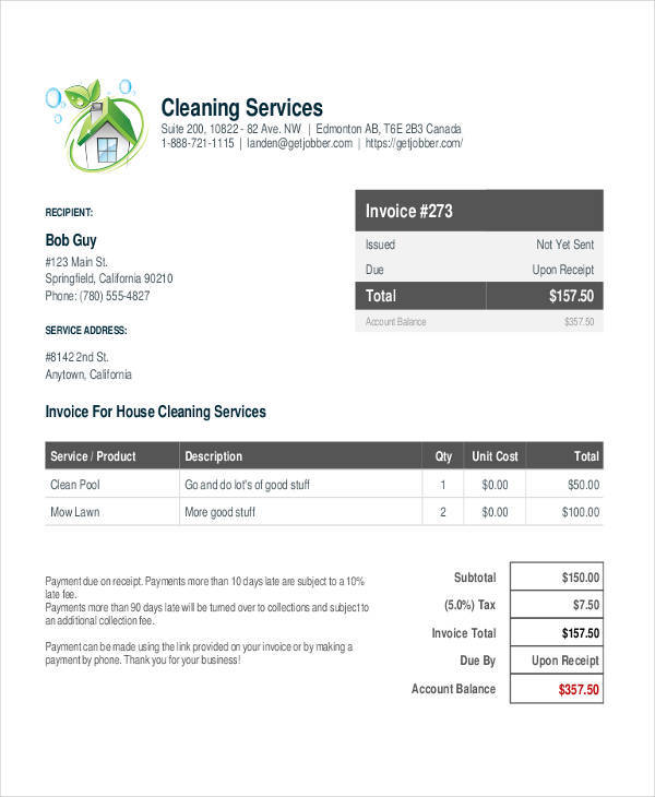 house cleaning service receipt1