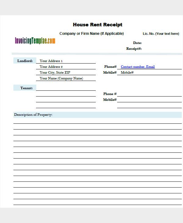house lease receipt