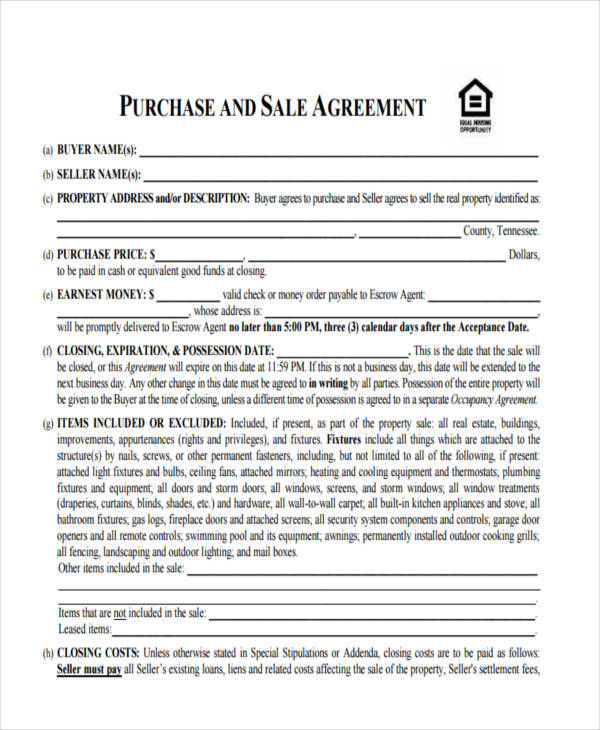 House Sales Contract  Free Sample Example Format Download