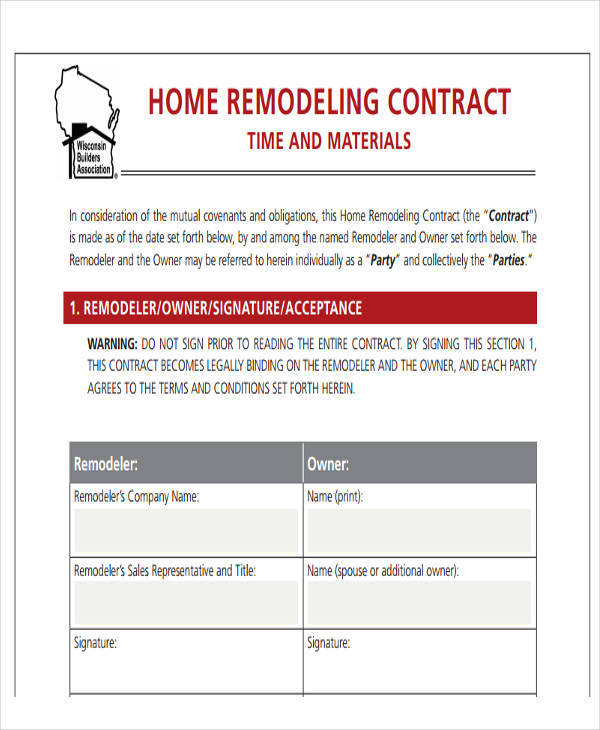 Home Remodeling Contract Home Repair Contract Template Pdf