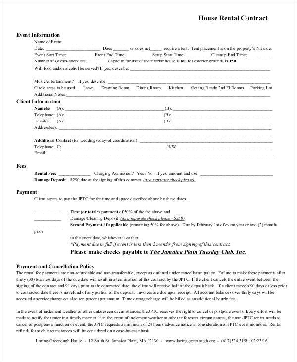 House Rent Contract Samples  Templates In Pdf