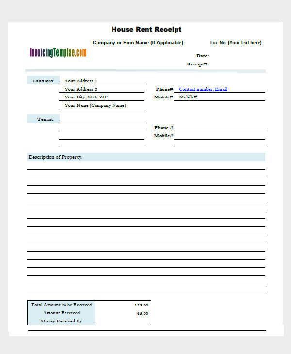 house rent invoice