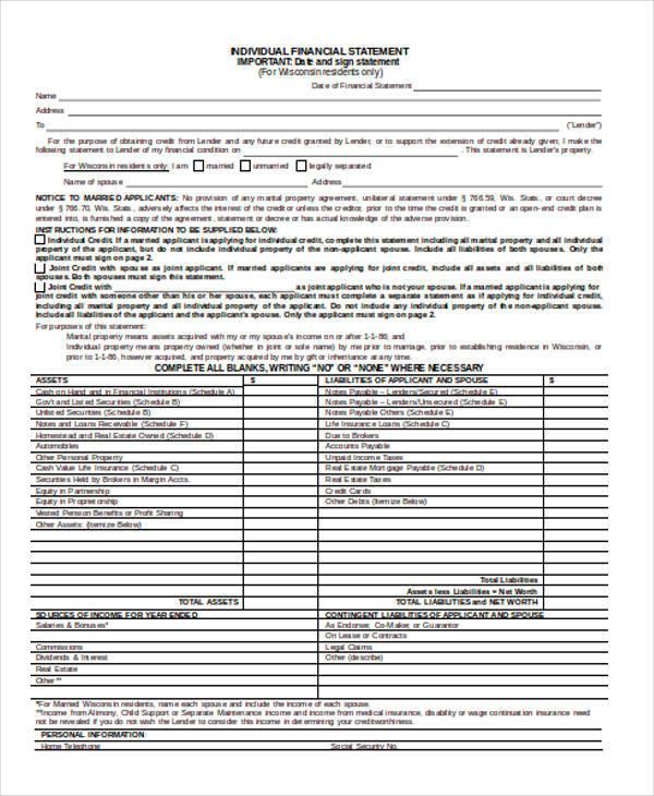 individual financial statement