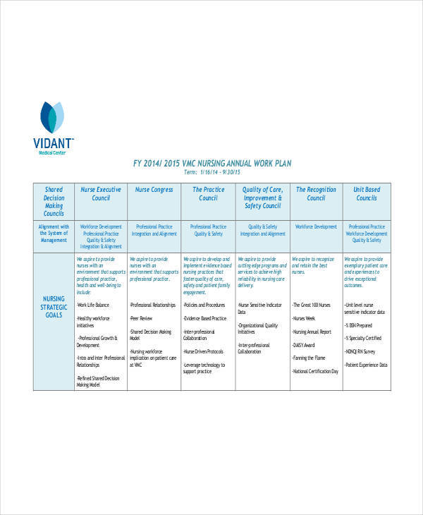 individual work plan for nurse