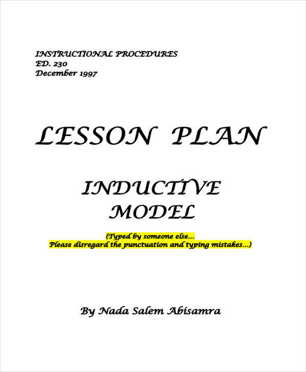 inductive model lesson plan