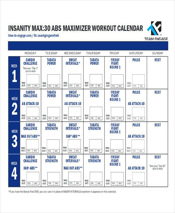insanity wall calendar