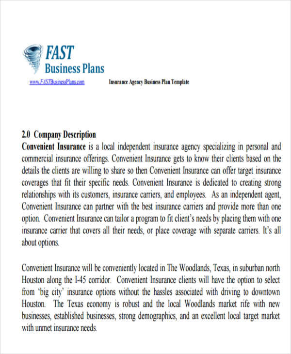 Insurance Agency Business Plan Template Fast Business Plans Oukasfo
