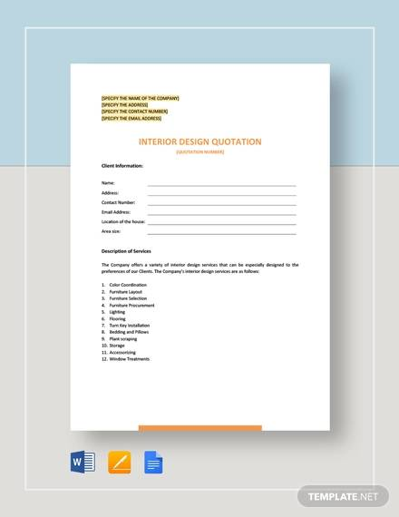 Free 10 Design Quotation Sample Templates In Ai Pdf Google Docs Apple Pages