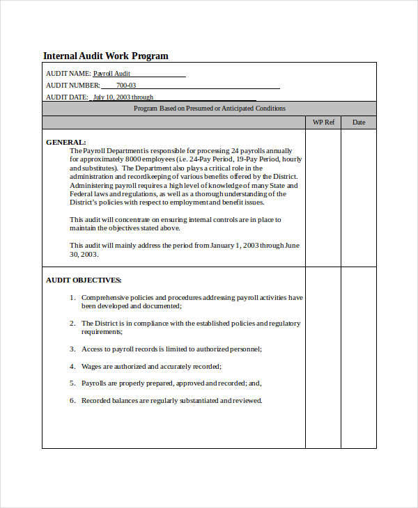 6 audit program samples  u0026 templates