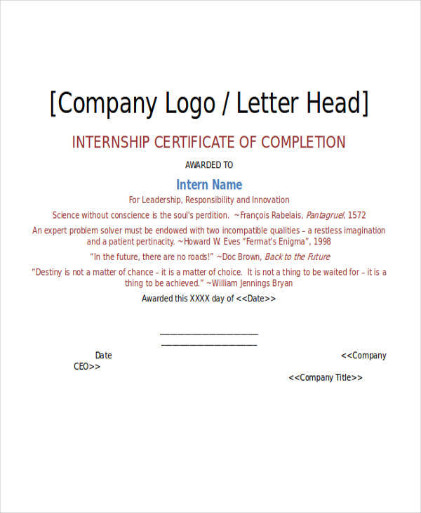 internship completion certificate