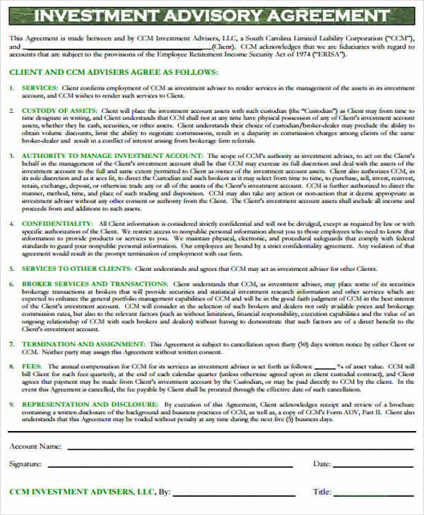 Investment Agreements  Free Sample Example Format Download