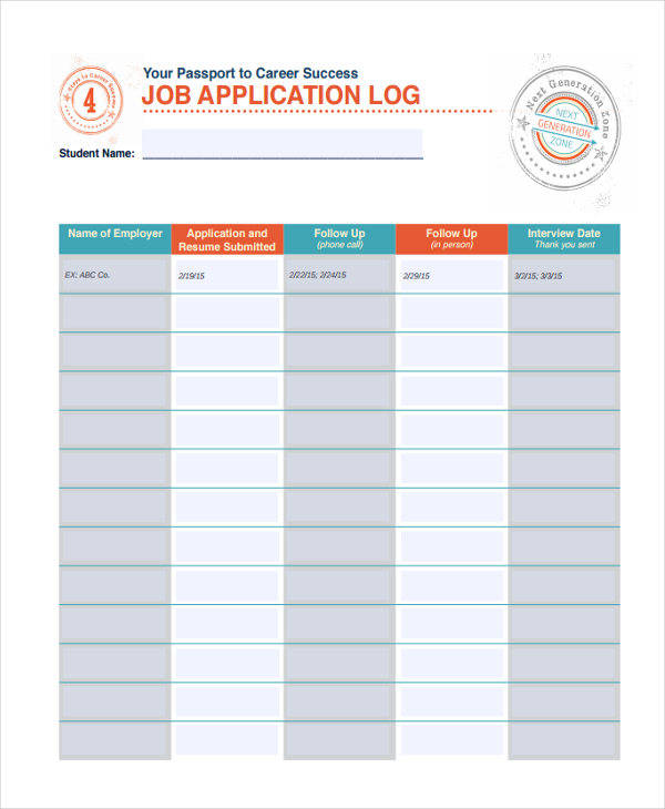 job application log