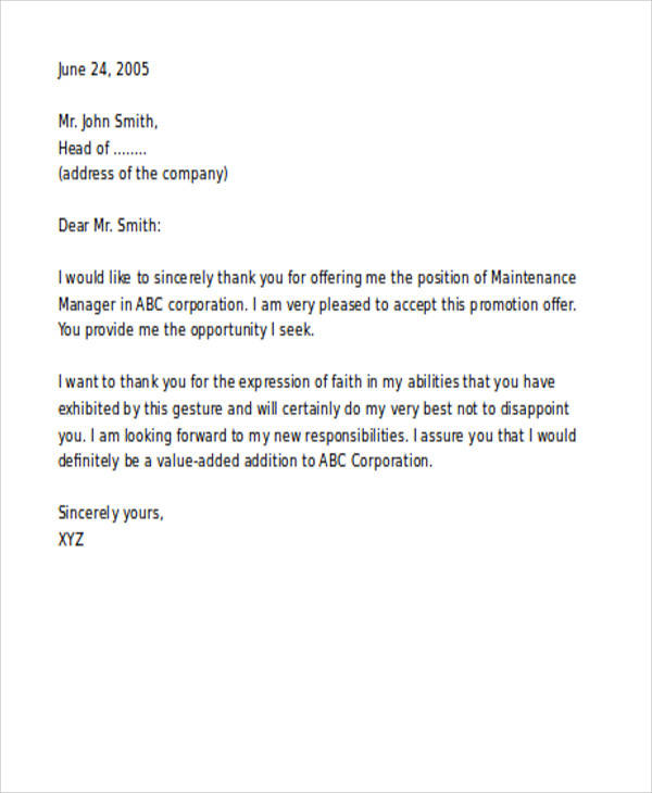 job promotion thank you letter
