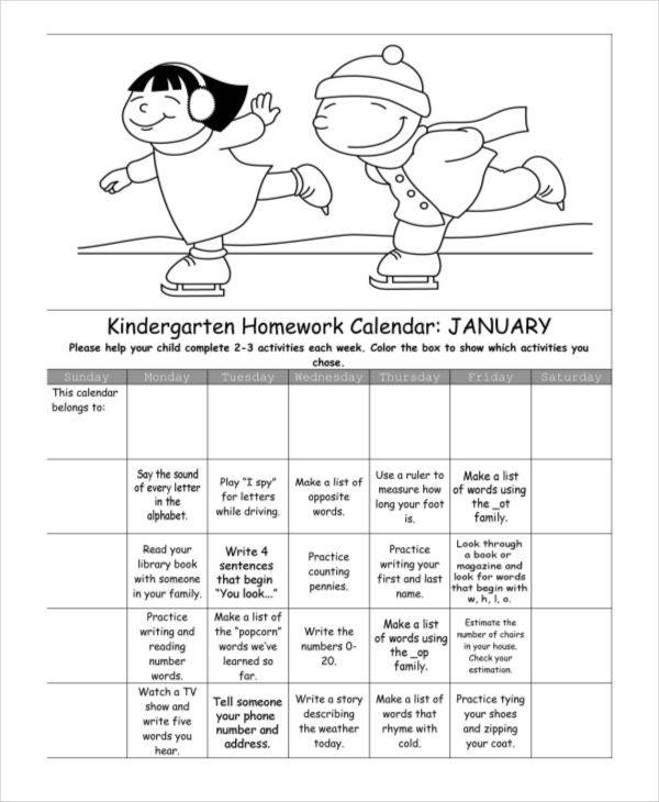 7+ Homework Calendar Templates - Free Sample, Example, Format Download