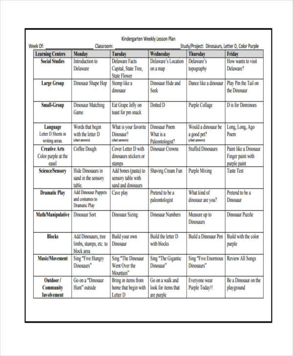 kindergarten weekly lesson plan