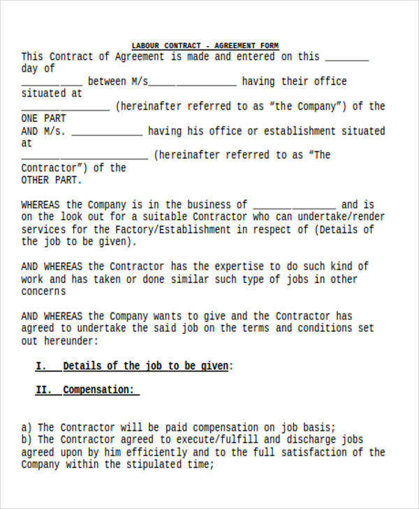 labour contract form1