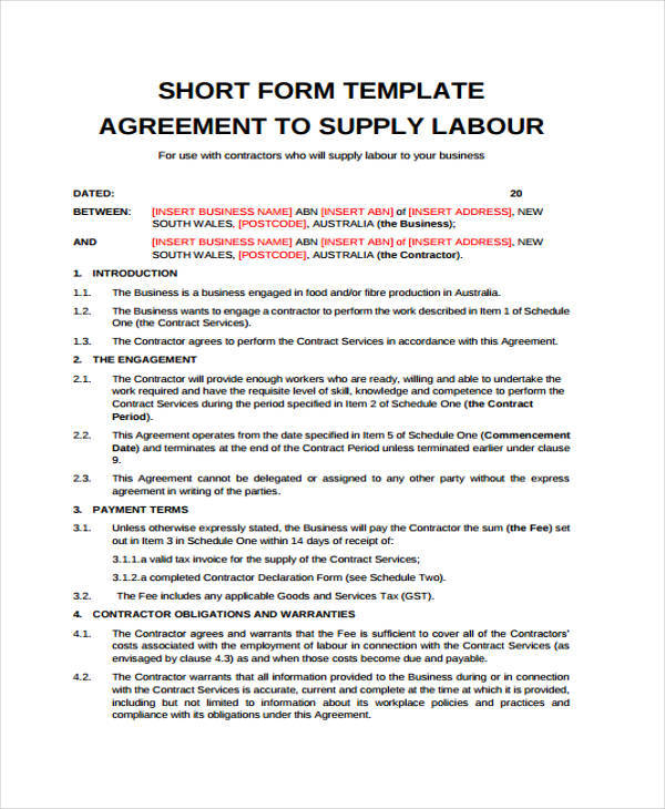 Labor Contract Samples  Templates  Pdf Doc