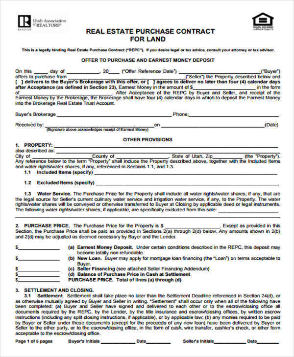 land purchase and sales contract