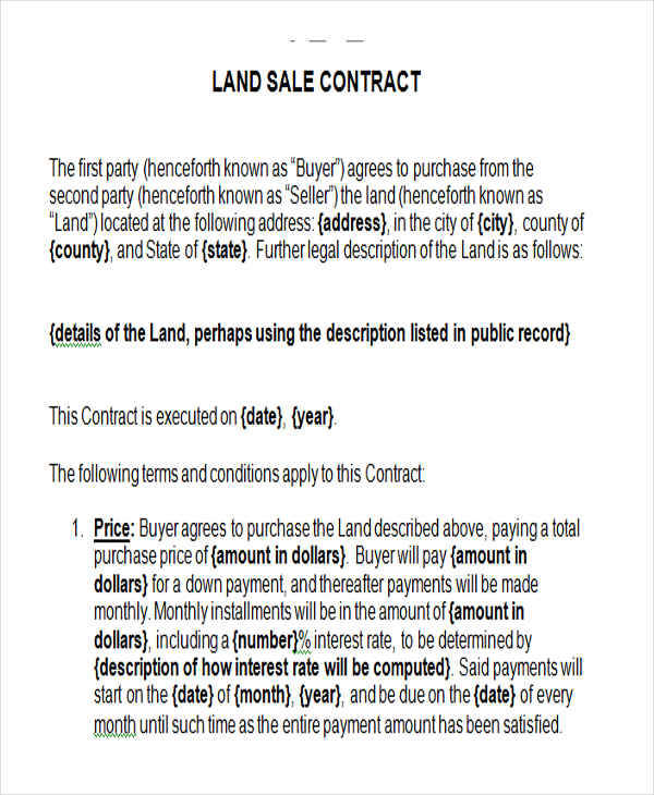 Land Contract Templates  Examples In Word Pdf