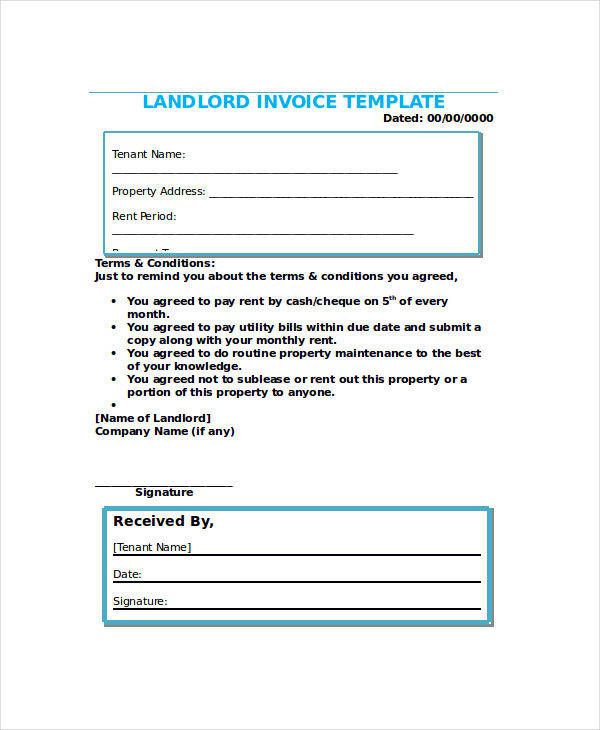 Rent Invoices  Free Sample Example Format Download