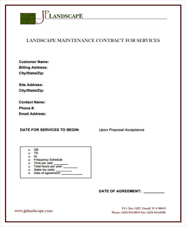 Landscape Maintenance Contract Template. Lawn Service Contract