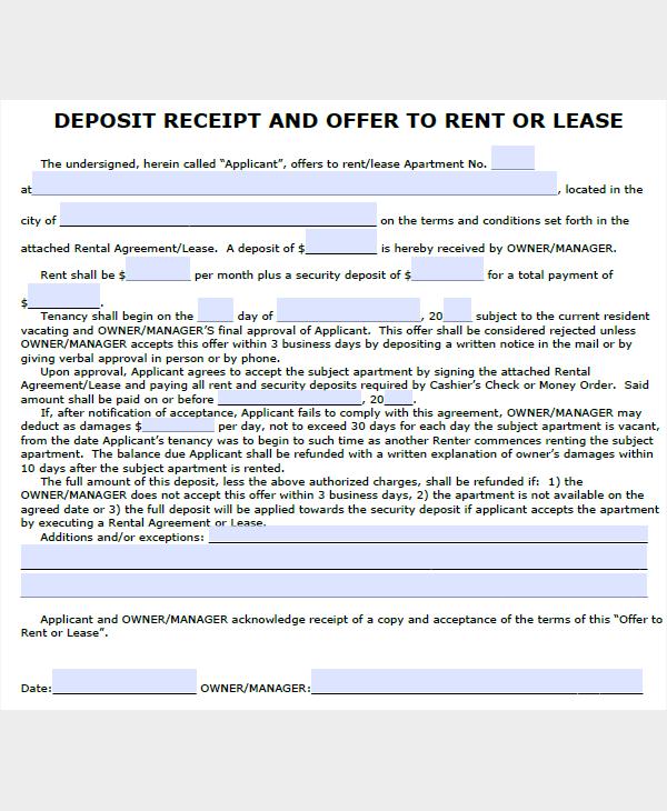 lease deposit receipt