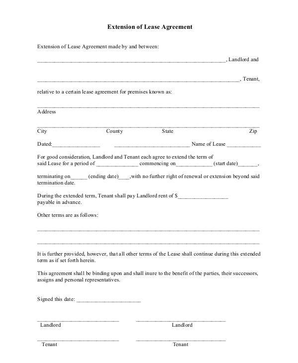 tenancy agreement renewal template - 8 lease contract template free sample example format