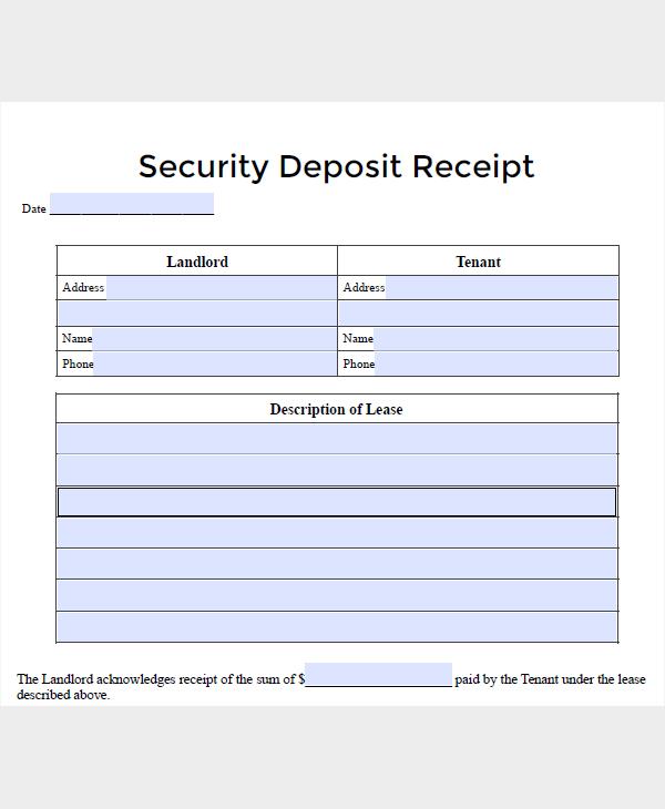 lease security deposit receipt