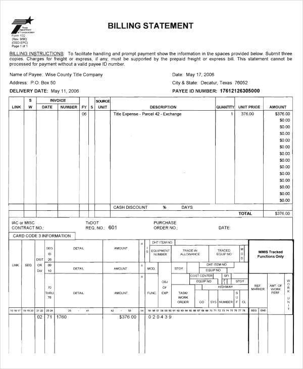 legal billing statement