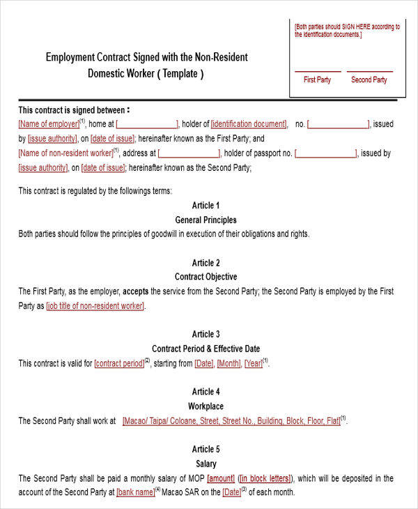 Contract Templates In Word