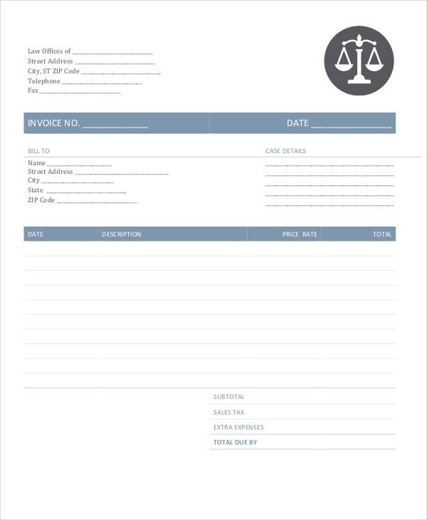 6 legal invoice template free sample example format download