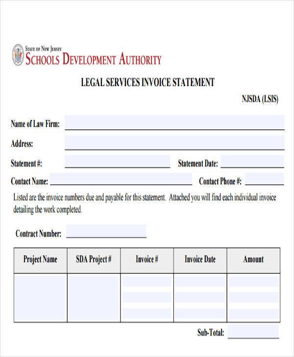legal service invoice