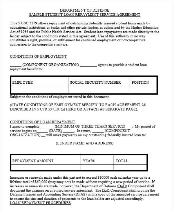 loan repayment contract1