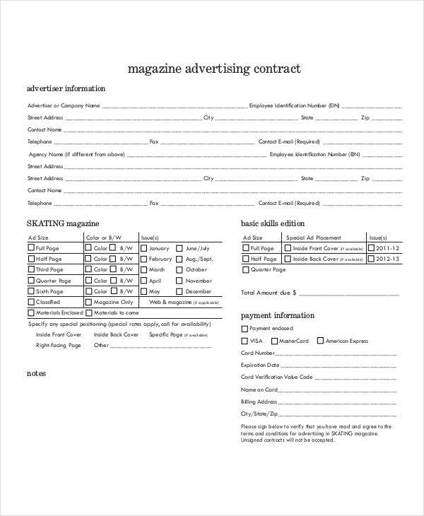 magazine advertising contract