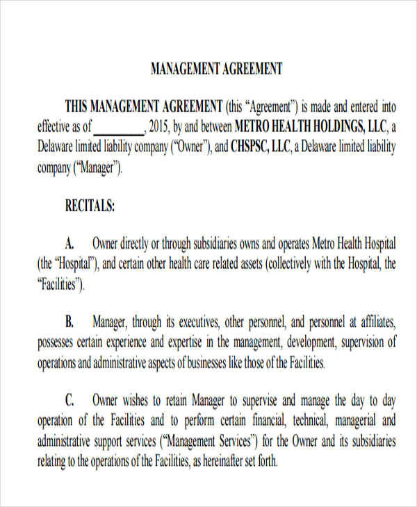 maintenance management agreement1