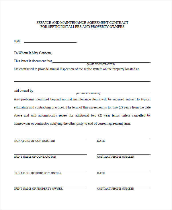 maintenance service contract template