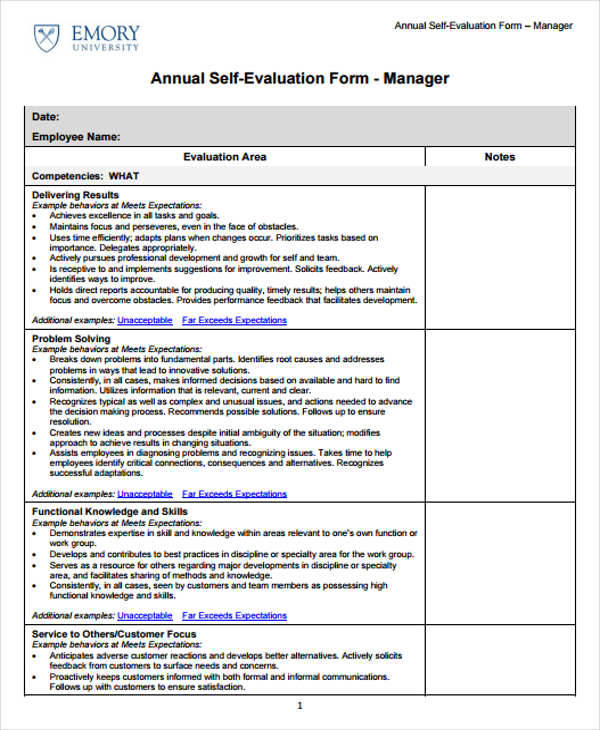 management employee evaluation