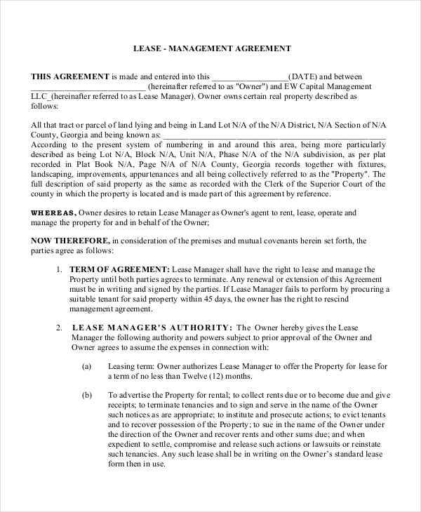 management lease contract