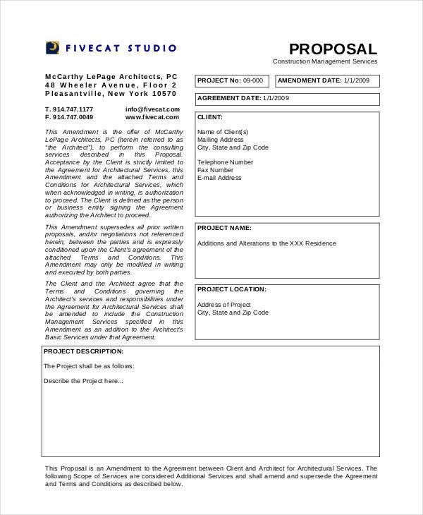 management proposal for construction