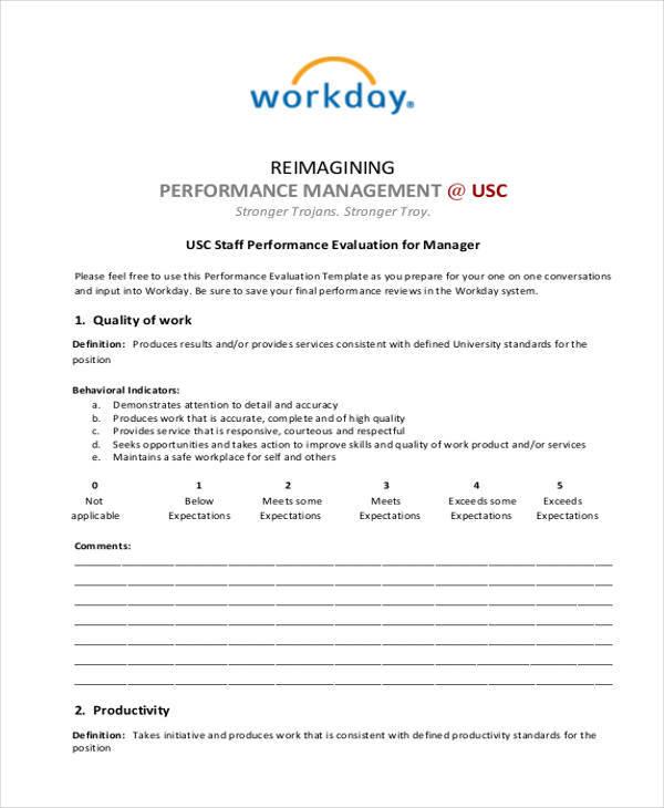 manager evaluation form