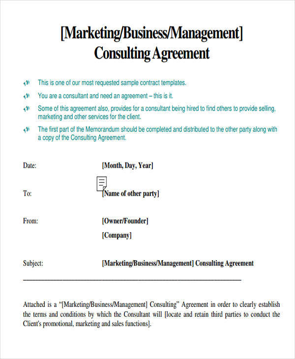 7 marketing agreements free sample example format for Marketing consultant contract template