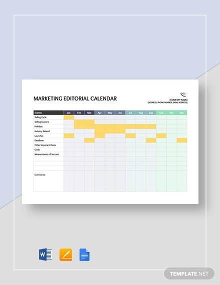 marketing editorial calendar template